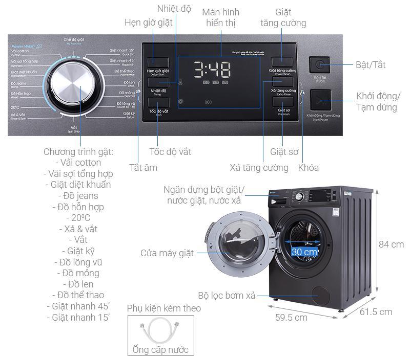 Đánh giá Máy giặt Casper WF-85I140BGB Inverter 8.5 kg