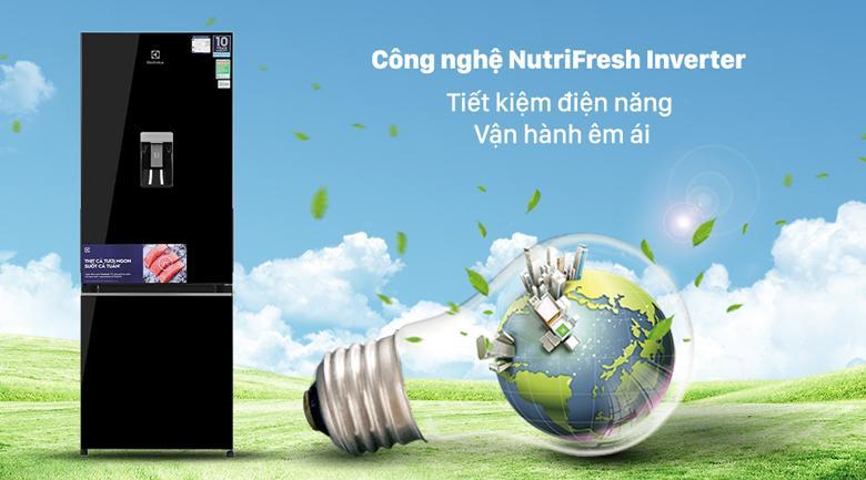 Tủ lạnh Electrolux EBB3442K-H trang bị công nghệ NutriFresh Inverter tiết kiệm điện một cách tối ưu