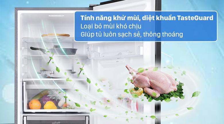 Với công nghệ TasteGuard trên Tủ lạnh Electrolux EBB3442K-H giúp các bạn giảm hẳn mùi và loại bỏ vi khuẩn tối đa