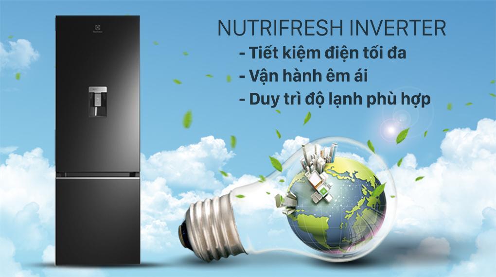 Tủ lạnh Electrolux EBB3462K-H trang bị công nghệ NutriFresh Inverter tiết kiejêm điện rất hiệu quả