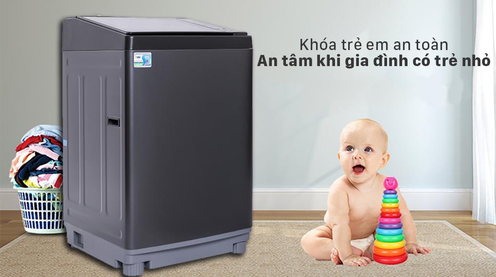 Máy giặt Aqua AQW-FW120GT.BK sở hữu khóa trẻ em rất đảm bảo sự an toàn mỗi quá trình giặt