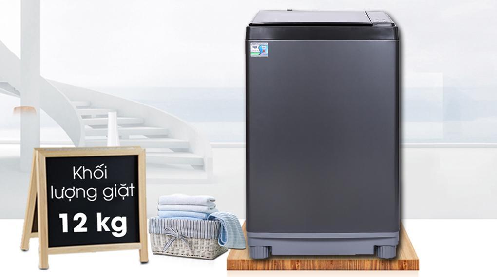 Máy giặt Aqua AQW-FW120GT BK rất hiện đại và có khối lượng giặt lớn 12 kg phù hợp cho gia đình 7 người