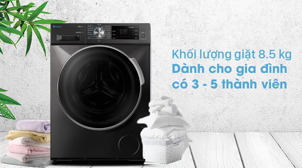 Đánh giá khối lượng giặt của Máy giặt Casper WF-85I140BGB có hợp lý không ?