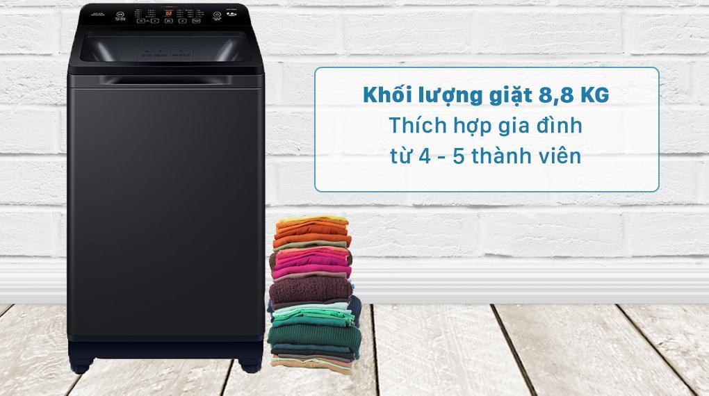Máy giặt Aqua AQW-FR88GT BK trang bị khối lượng 8.8 kg phù hợp cho gia đình từ 4 - 5 thành viên