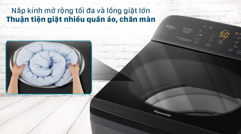 Máy giặt NA-F100A9BRV trang bị Nắp máy kính cường lực bền bỉ, tăng tuổi thọ máy giặt