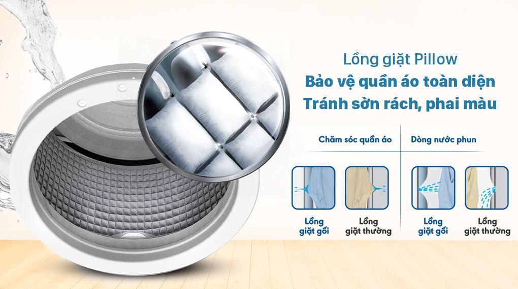 Máy giặt Aqua AQW-FR88GT.BK sở hữu lồng giặt Pillow mượt mà cho khả năng bảo vệ quần áo, tránh sờn rách