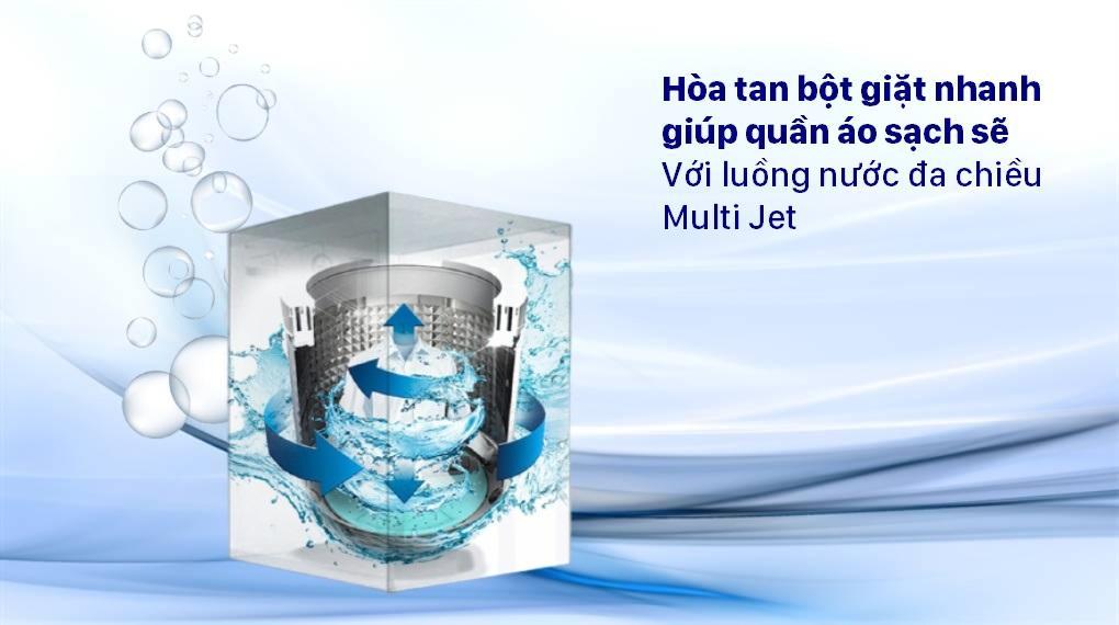Máy giặt Aqua AQW-F100GT BK trang bị luồng nước đa chiều Multi Jet giúp hoà tan bột giặt rất nhanh chóng, giúp quần áo luôn sạch như mới
