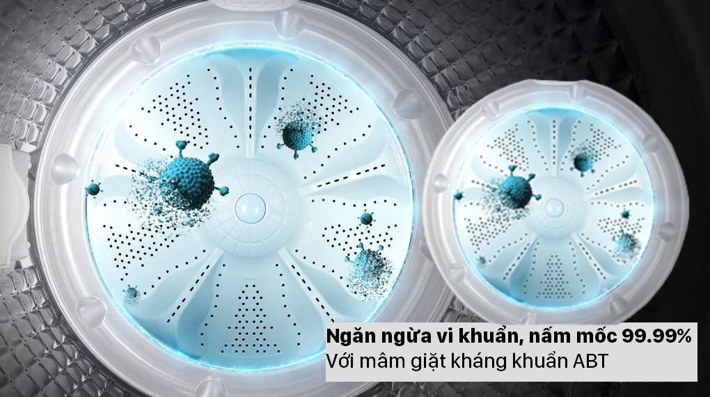 Máy giặt Aqua AQW-F100GT.BK sở hữu mâm giặt kháng khuẩn ABT ngăn ngừa vi khuẩn và nấm mốc cực tốt