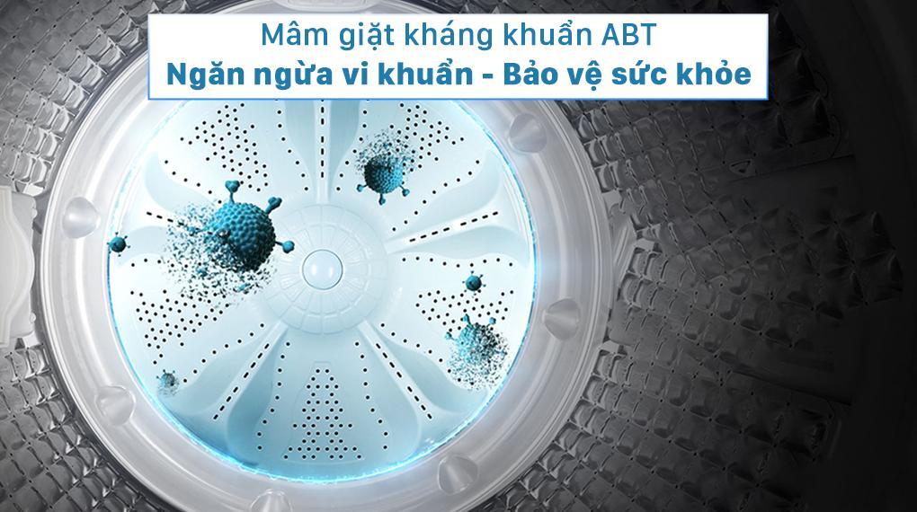 Máy giặt Aqua AQW-FR98GT.BK Ngăn ngừa vi khuẩn, nấm mốc với mâm giặt kháng khuẩn ABT