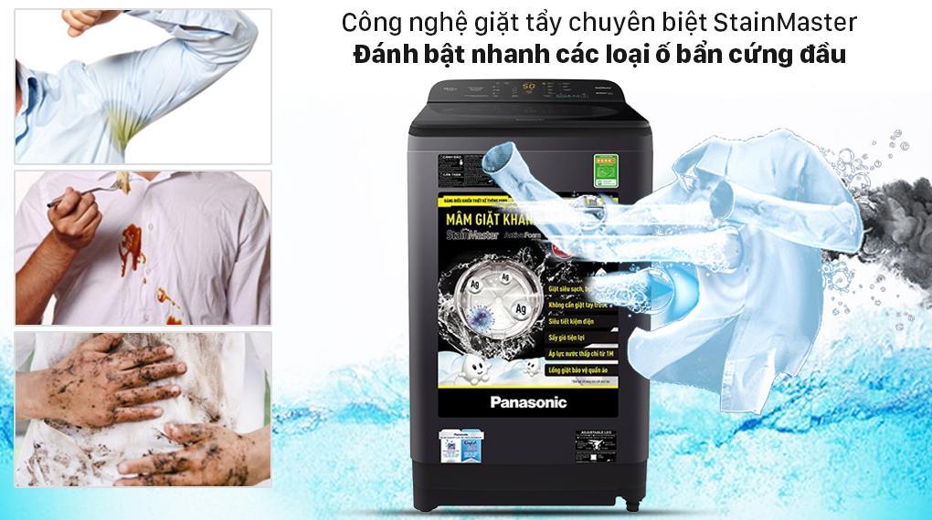 Máy giặt Panasonic NA-F90A9BRV có thể đánh bật nhanh các loại ố bẩn cứng đầu nhất nhờ StainMaster