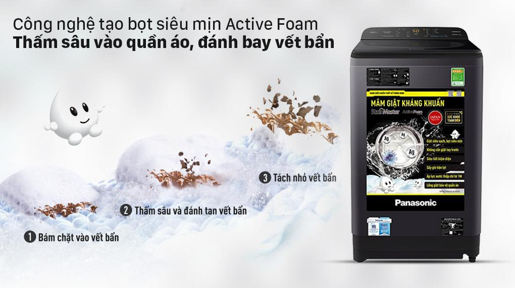 Máy giặt NA-F90A9BRV trang bị Công nghệ Active Foam tạo bọt siêu mịn, thấm sâu vào từng sợi đánh bay các vết bẩn cứng đầu