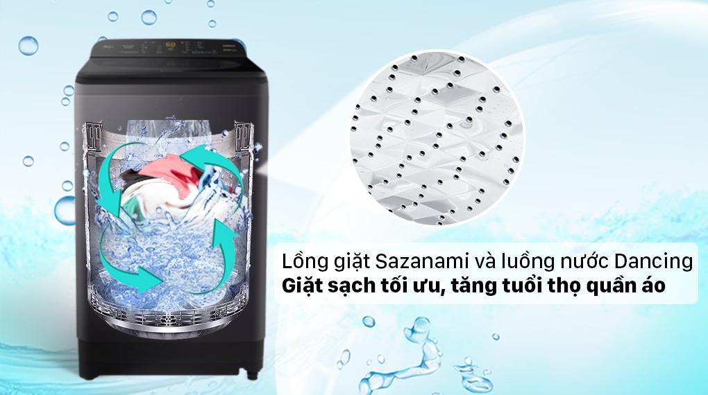 Máy giặt Panasonic NA-F90A9BRV sở hữu lồng giặt Sazanami cùng với luồng nước Dancing Water Flow giặt sâu hơn, tăng tuổi thọ máy giặt đáng kể