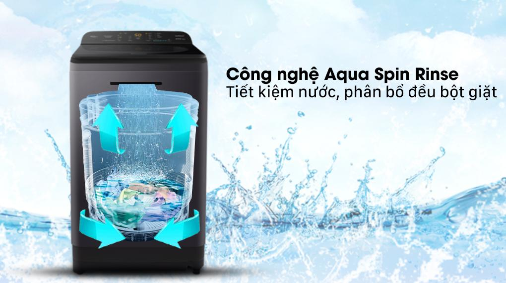 Máy giặt Panasonic NA-F90A9BRV với công nghệ xả nước Aqua Spin Rinse giúp các bạn tiết kiệm nước và phân bổ đều bột giặt hơn