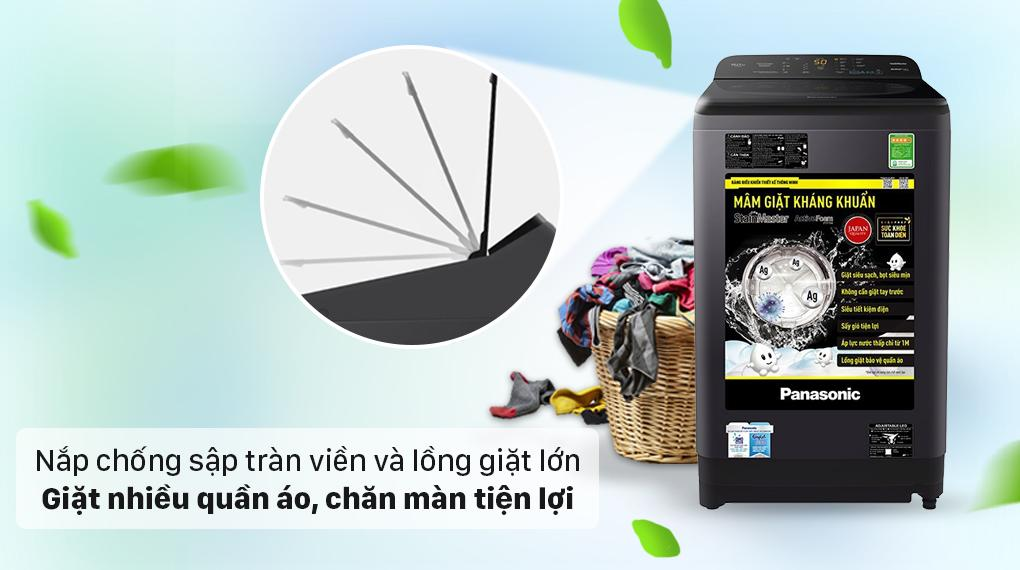 Máy giặt Panasonic NA-F90A9BRV có nắp cường lực chống sập thiết kế tràn viền và lồng giặt cỡ lớn thuận tiện giặt đồ có kích thước lớn