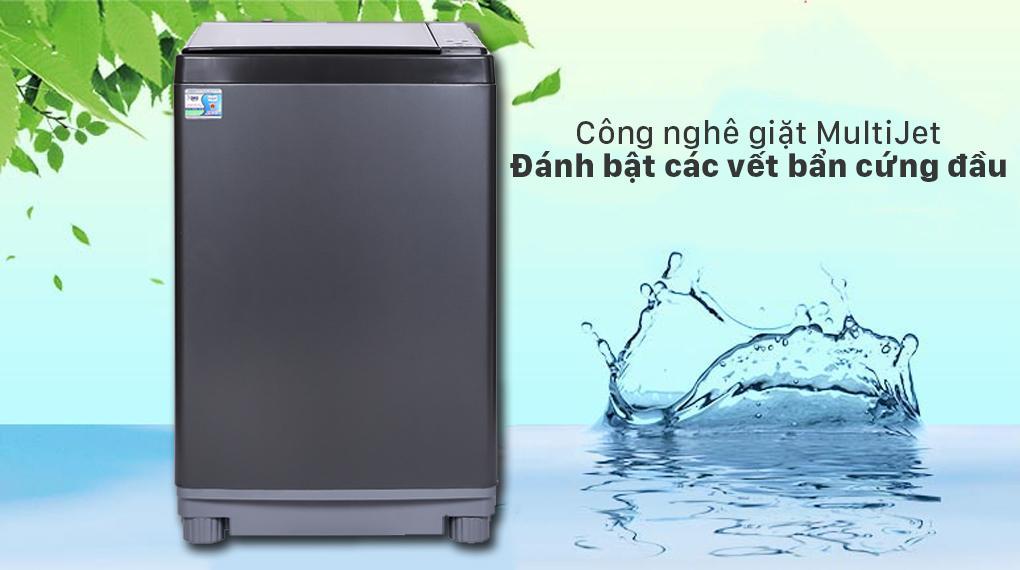 Máy giặt Aqua AQW-FW120GT.BK hỗ trợ công nghệ nhiều luồng nước phun MultiJetkhông còn lo cặn bột giặt sót lại trên quần áo