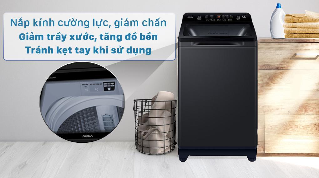 Máy giặt Aqua AQW-FR88GT BK trang bị nắp kính cường lực, giảm chấn, đóng mở nhẹ nhàng
