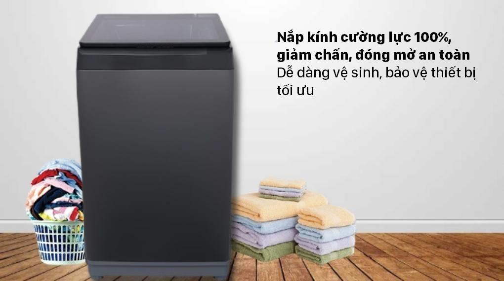 Máy giặt Aqua AQW-F100GT BK trang bị nắp kính cường lực 100%, giảm chấn, đóng mở an toàn