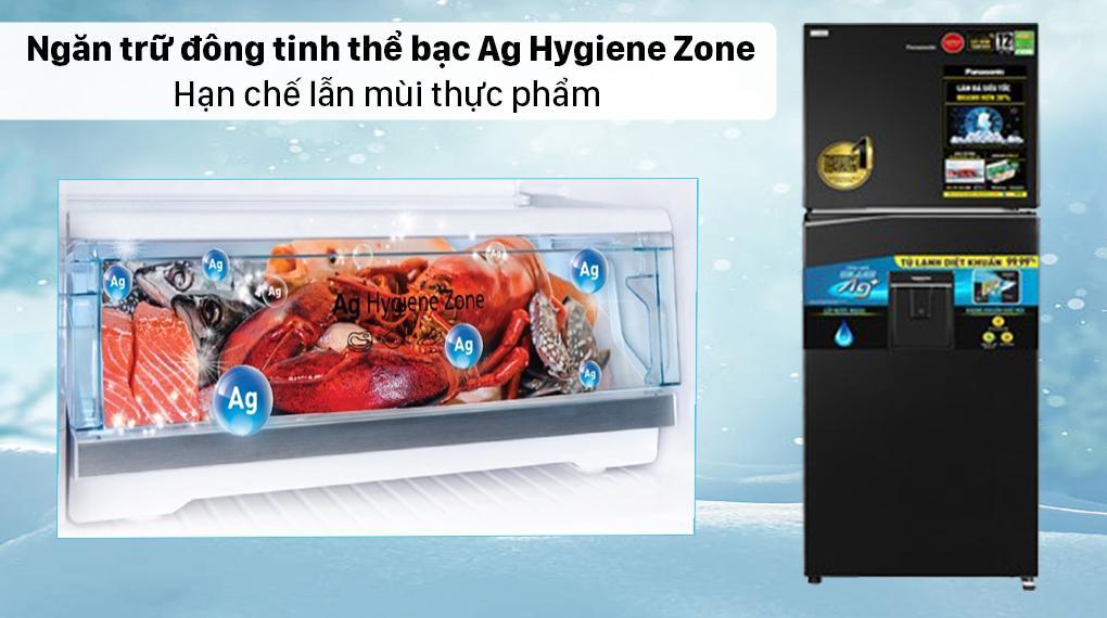 Tủ lạnh Panasonic NR-TL351GPKV có ngăn trữ đông tinh thể bạc Ag Hygiene Zone hạn chế hoàn toàn sự lây lan mùi thực phẩm