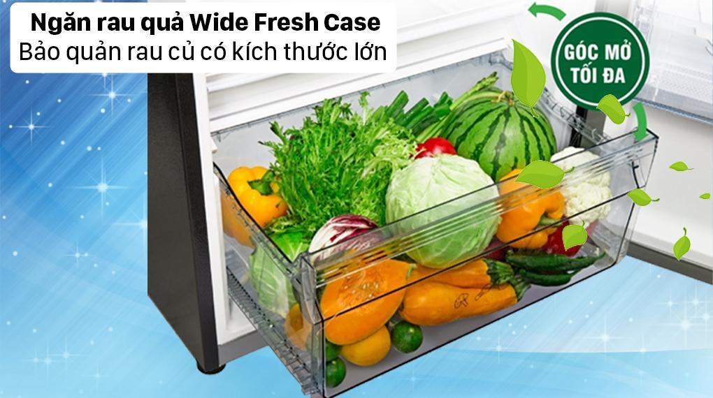 Giờ đây việc bảo quản rau quả sẽ được lâu hơn, nhiều hơn nhờ kích thước với ngăn Wide Fresh Case lớn