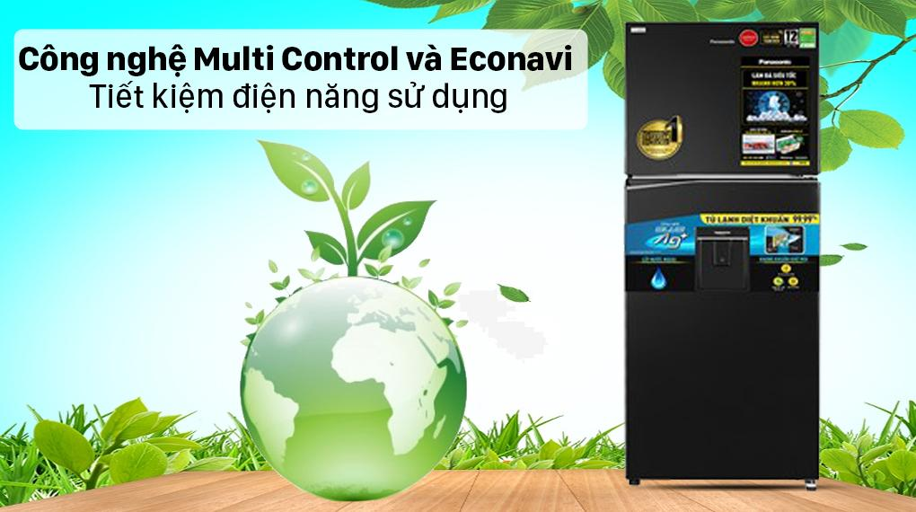 Tủ lạnh Panasonic NR-TL351GPKV giup bạn tiết kiệm đáng kể lượng điện năng với Multi Control và cảm biến thông minh Econavi
