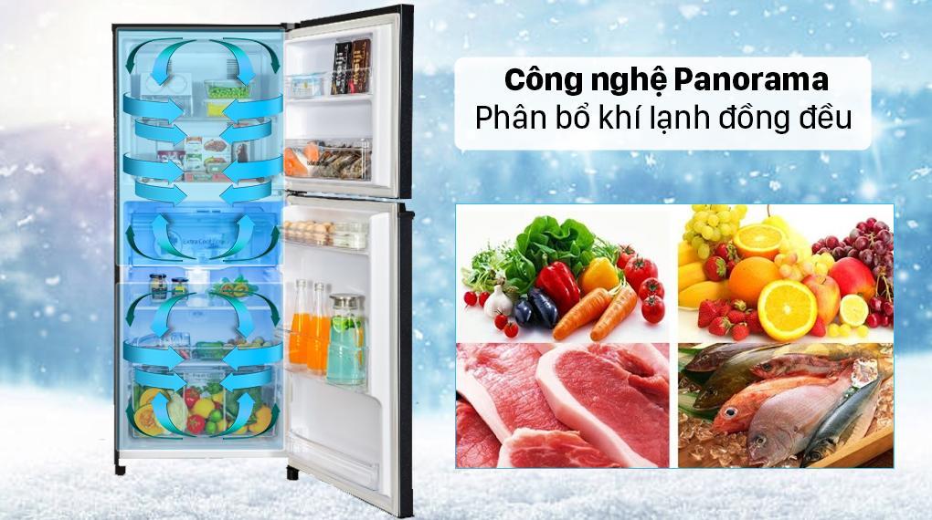 Nhờ có công nghệ Panorama mà hơi lạnh phân bổ đều và nhanh chóng khắp mọi nơi trong tủ