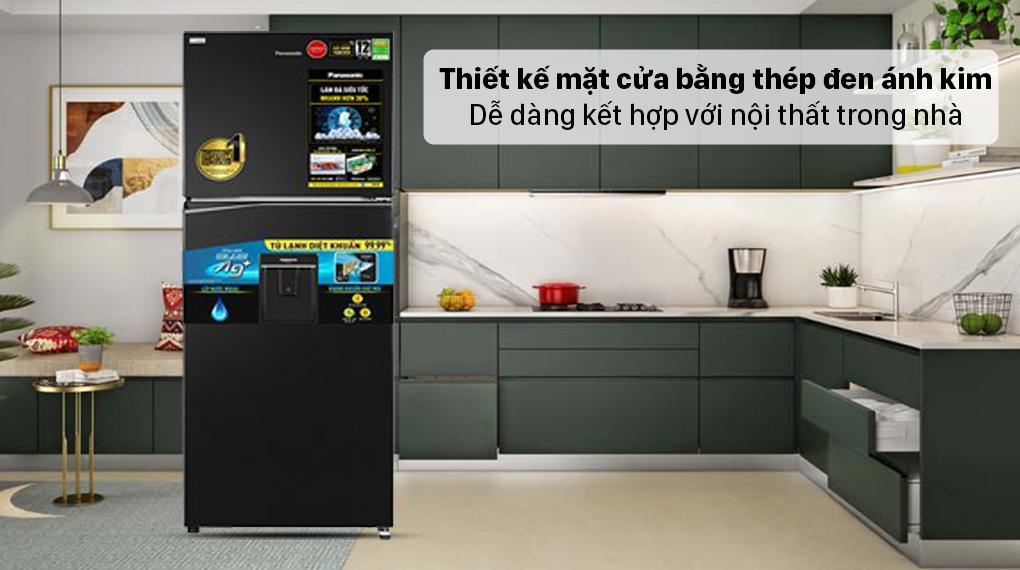 Tủ lạnh Panasonic NR-TL351GPKV có thiết kế sang trọng với mặt cửa bằng thép đen ánh kim