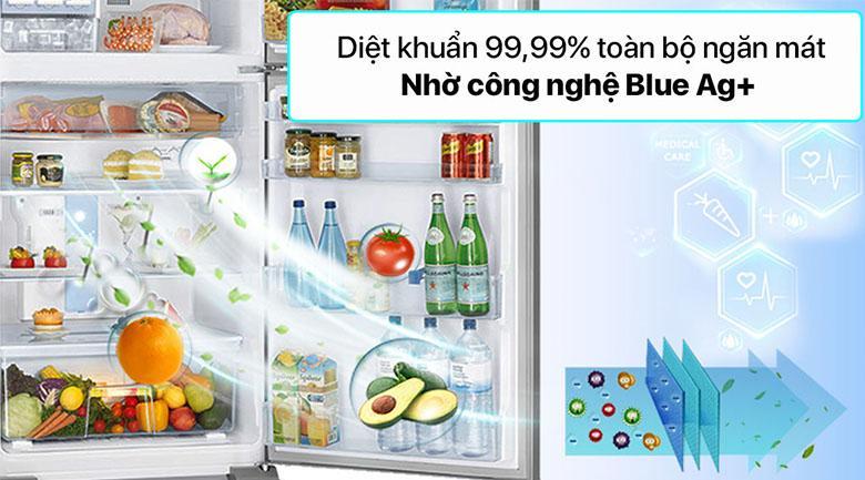 Tủ lạnh Panasonic NR-TV261APSV sử dụng công nghệ Blue Ag+ giúp khử khuẩn rất tốt, diệt tới 99.99% vi khuẩn