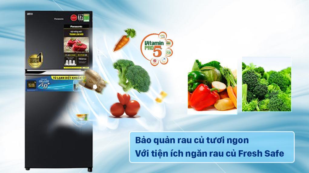 Tủ lạnh Panasonic NR-TV261BPKV trang bị ngăn rau củ Fresh Safe duy trì độ ẩm tốt cho thực phẩm tươi ngon