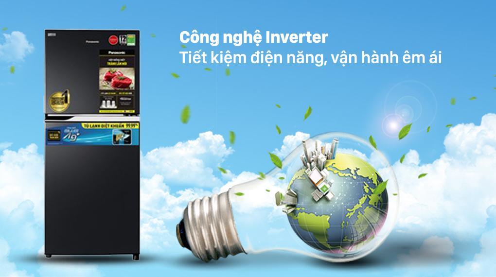 Tủ lạnh Panasonic NR-TV261BPKV ứng dụng công nghệ Inverter nên tiết kiệm điện hơn, hoạt động êm hơn