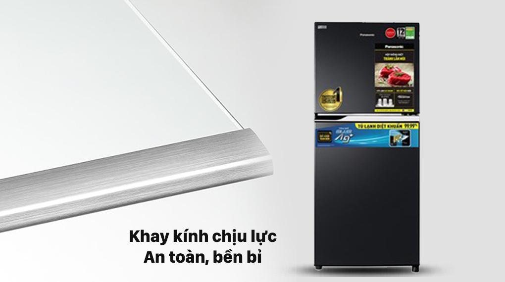 Tủ lạnh Panasonic NR-TV261BPKV trang bị khay kính chịu lực bền bỉ lưu trữ nhiều thực phẩm hơn
