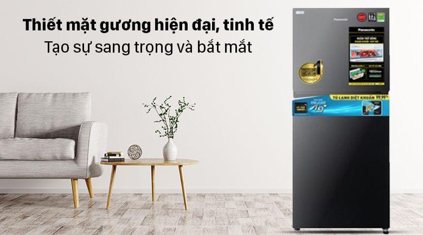Tủ lạnh Panasonic NR-TV301VGMV có thiết mặt gương hiện đại, tinh tế được lòng của nhiều bà mẹ