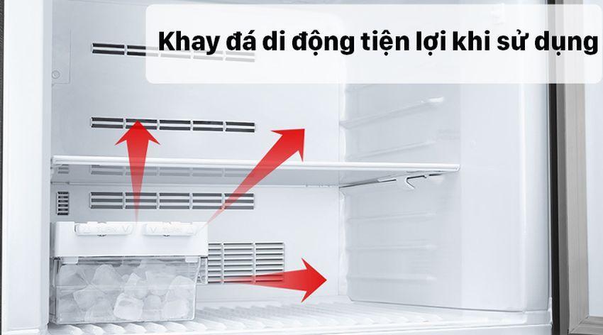 Trang bị khay đá di động có thể di chuyển bất kỳ đâu trong ngăn lạnh rất tiện lợi khi sử dụng
