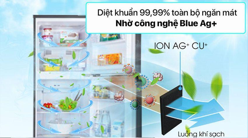 Sản phẩm giúp bạn yên tâm khi có khả năng diệt khuẩn 99,99% toàn bộ ngăn mát nhờ công nghệ Blue Ag+