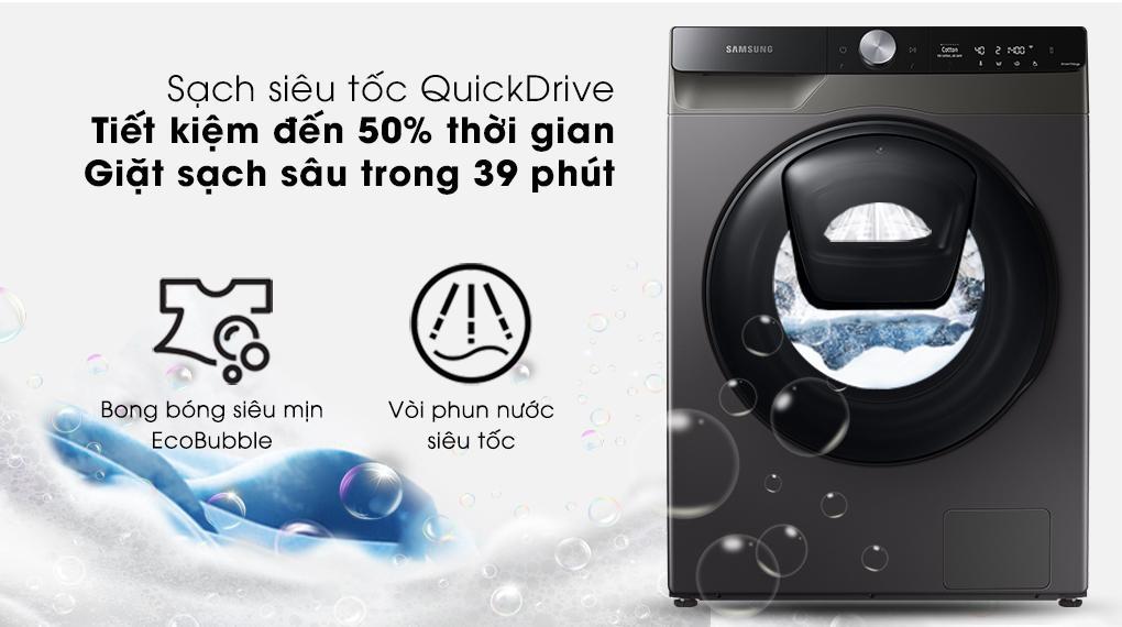 Máy giặt sấy Samsung WD95T754DBX/SV sở hữu công nghệ QuickDrive giặt nhanh, xả nhanh hơn tiết kiệm thời gian đáng kể của các bạn
