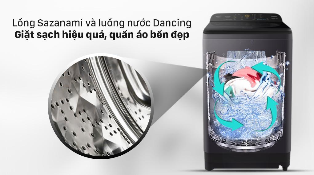 Máy giặt Panasonic NA-F100A9BRV nhờ sự kết hợp của Lồng giặt Sazanami và luồng nước Dancing Water Flow giặt hiệu quả hơn