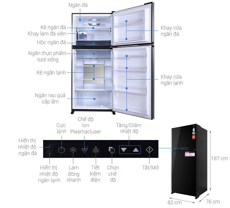 Tủ lạnh Sharp Inverter 560 lít SJ-XP620PG-BK