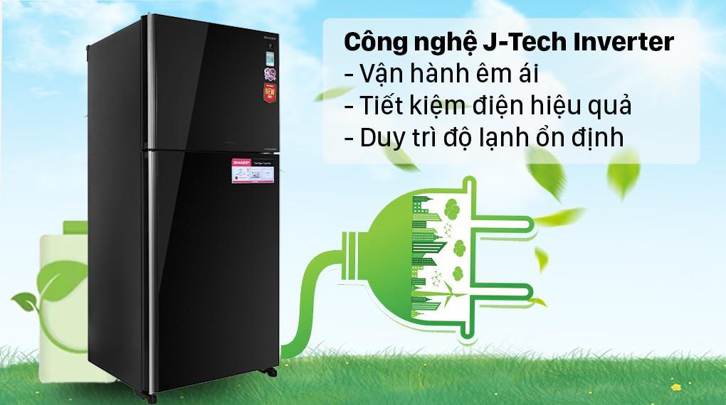 Tủ lạnh Sharp SJ-XP620PG-BK trang bị bộ đôi công nghệ J-tech Inverter và chế độ Eco tiết kiệm điện năng tối đa