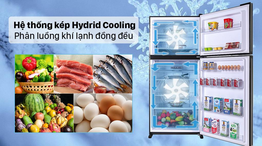 Với hệ thống làm lạnh kép Hybrid Cooling giúp cho luông khí lạnh lan toả khắp tủ nhanh chóng