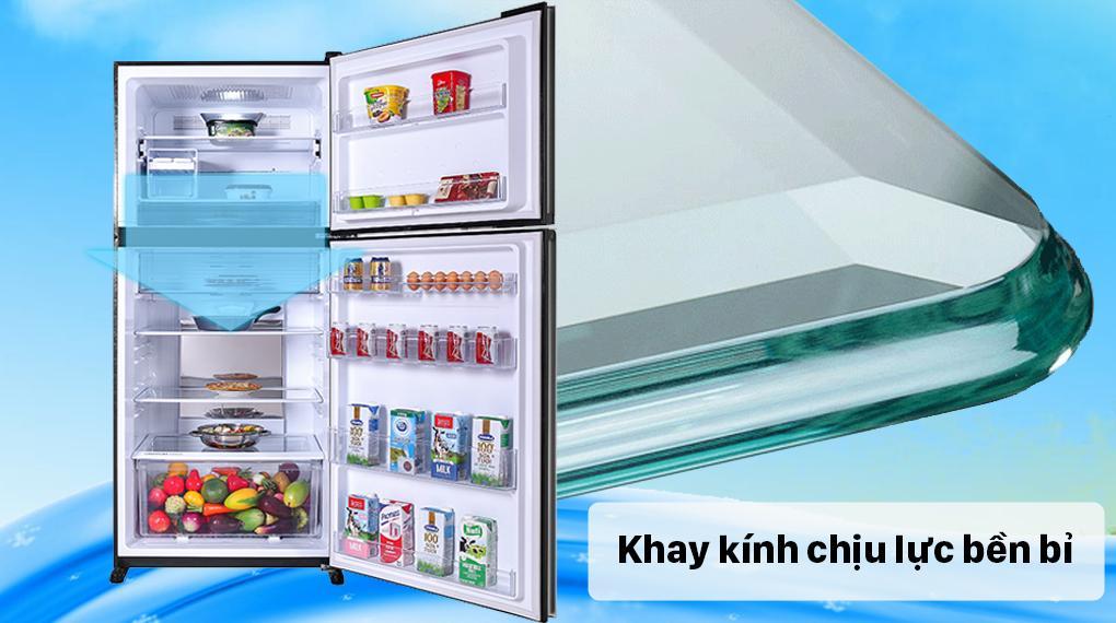 Tủ lạnh Sharp SJ-XP620PG-BK trang bị khay kính cường lực, bền bỉ giúp bạn cất trữ nhiều đồ hơn mà cực kỳ an toàn