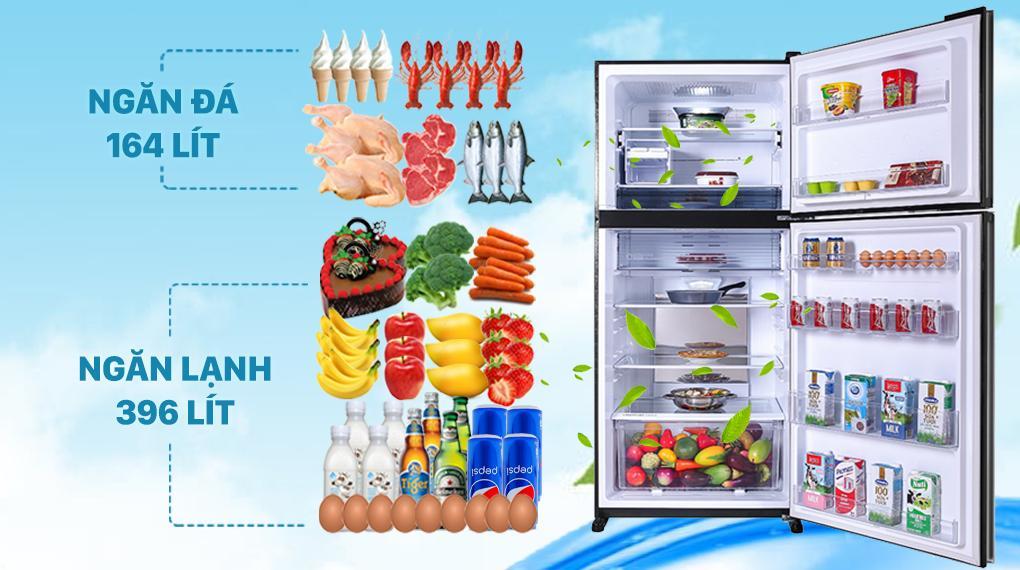 Tủ lạnh Sharp SJ-XP620PG-BK có thiết kế mặt gương đen sang trọng, dung tích tủ lớn 560 lít