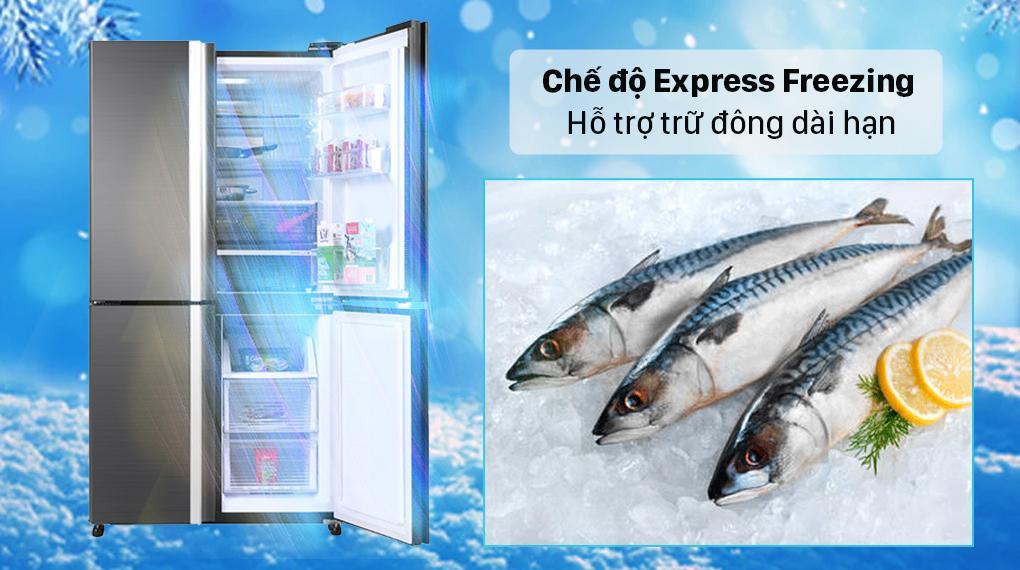 Chế độ Express Freezing trên Tủ lạnh Sharp SJ-FX600V-SL làm đông thực phẩm xuống tận -24⁰C