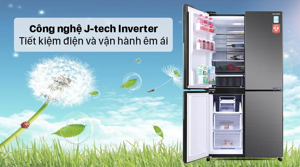 Tủ lạnh Sharp SJ-FX600V-SL trang bị Công nghệ J-tech Invertertiết kiệm điện năng, vận hành êm ái