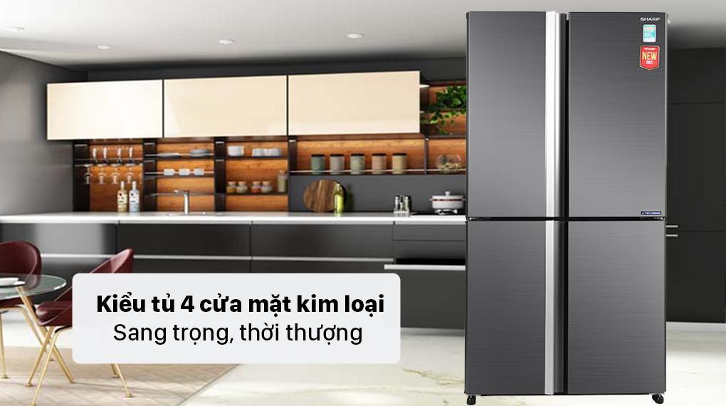 Tủ lạnh Sharp SJ-FX600V-SL chính là kiểu tủ lạnh 4 cửa với mặt kim loại sang trọng, thời thượng nhất hiện nay