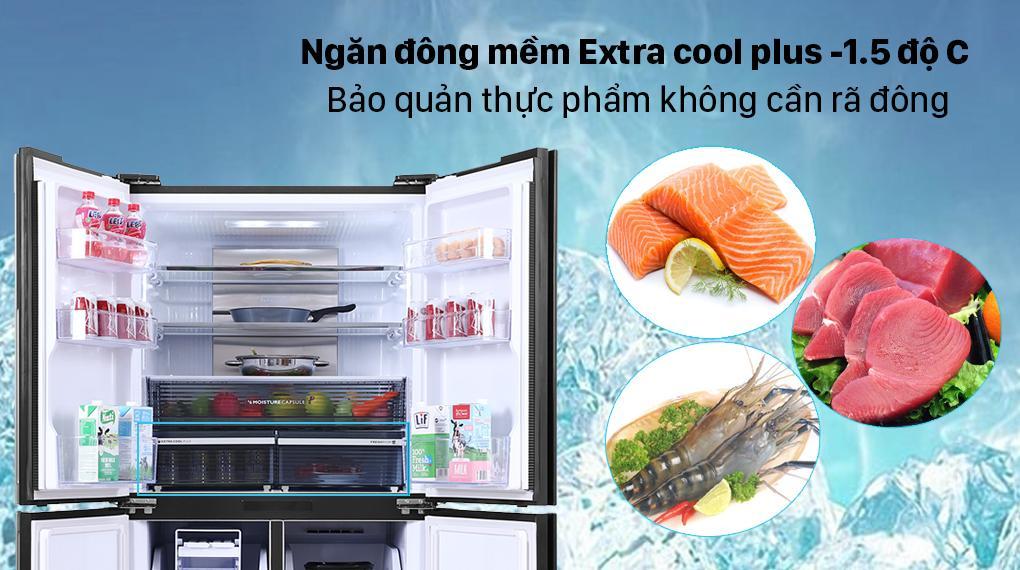 Các bạn sẽ bảo quản thực phẩm mà không cần làm đông nhờ trang bị ngăn đông mềm Extra cool plus