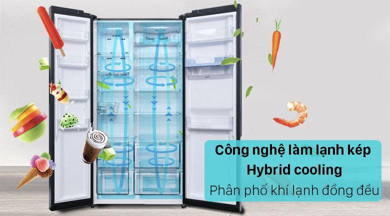Tủ lạnh Sharp SJ-FX640V-SL trang bị công nghệ làm lạnh kép Hybrid cooling làm lạnh nhanh và đều hơn