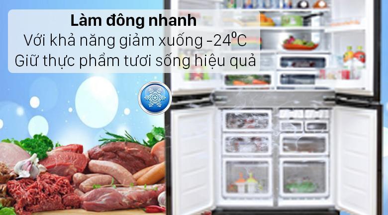 Tủ lạnh Sharp SJ-FX640V-SL với nhiệt độ ngăn đông đạt -24⁰C giữ thực phẩm tươi sống tốt hơn