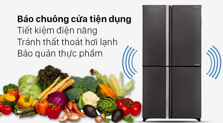 Tủ lạnh Sharp SJ-FX640V-SL trang bị báo chuông cửa tiện dụng, tránh lãng phí điện