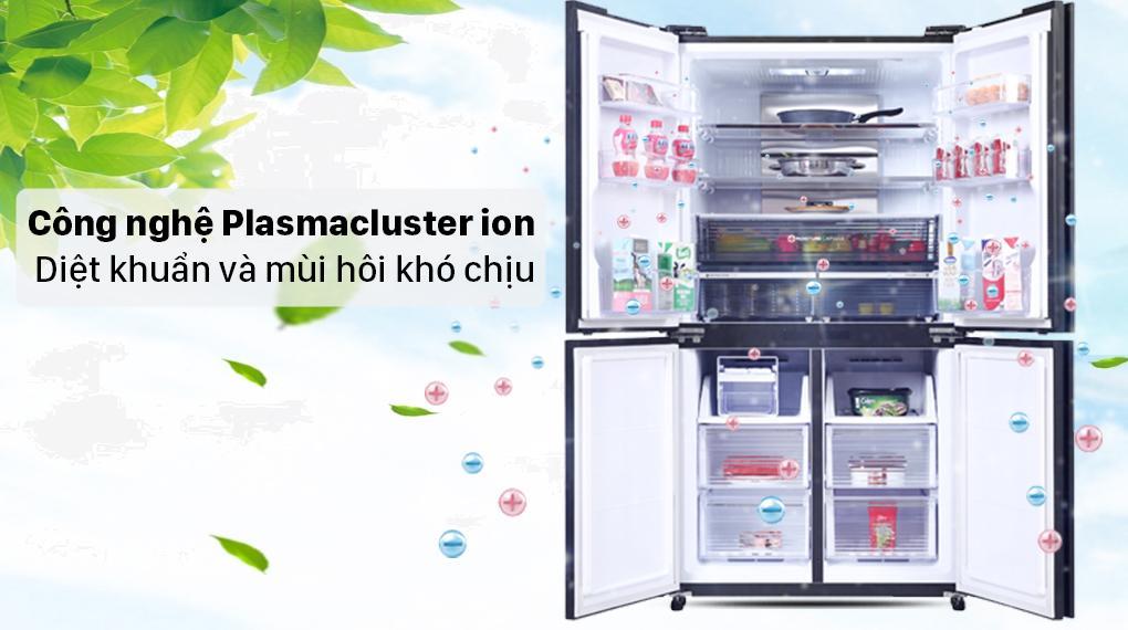 Tủ lạnh Sharp SJ-FXP600VG-BK trang bị công nghệ Plasmacluster ion cho không khí trong tủ sạch khuẩn, khử mùi tốt