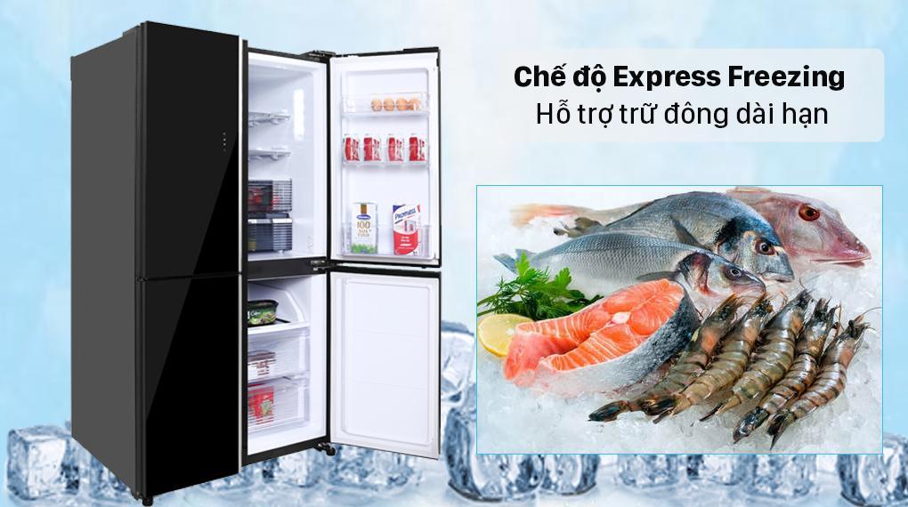 Tủ lạnh Sharp SJ-FXP600VG-BK nhờ chế độ Express Freezing giảm nhiệt độ tới -24 độ C làm đông thực phẩm siêu nhanh