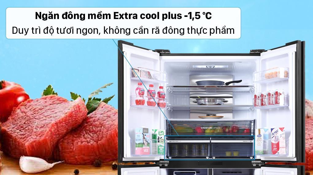 Trang bị ngăn đông mềm Extra Cool Plus -1.5 độ C giúp bạn luôn có đồ tươi ngon sử dụng hàng ngày